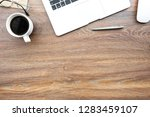 wood office desk table with... | Shutterstock . vector #1283459107