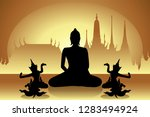 gold color budha and angel from ...   Shutterstock .eps vector #1283494924