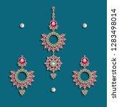earrings and forehead...   Shutterstock .eps vector #1283498014