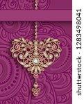 vintage gold jewellery pendant...   Shutterstock .eps vector #1283498041