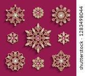 vector set of jewellery gold...   Shutterstock .eps vector #1283498044