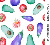 watercolor seamless vegetable... | Shutterstock . vector #1283507977