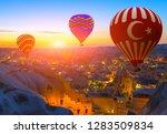 hot air balloon tour in the sky ... | Shutterstock . vector #1283509834