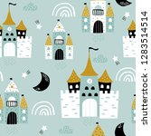 childish seamless pattern with... | Shutterstock .eps vector #1283514514