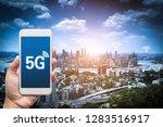 hand holding mobile smart phone ... | Shutterstock . vector #1283516917