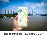 mobile gps navigation on mobile ... | Shutterstock . vector #1283517067