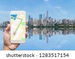 mobile gps navigation on mobile ... | Shutterstock . vector #1283517154