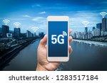 hand holding mobile smart phone ... | Shutterstock . vector #1283517184
