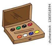 watercolor paints in a box for... | Shutterstock .eps vector #1283518594