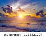 island tropical beach sunset... | Shutterstock . vector #1283521204
