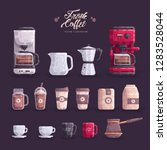 coffee maker equipmen tool set  ... | Shutterstock .eps vector #1283528044