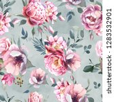Stock photo watercolor seamless pattern of peony and blosom flowers on splash background floral element for 1283532901