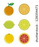 Citrus Icons Over White...