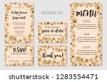wedding invitation set  floral... | Shutterstock .eps vector #1283554471