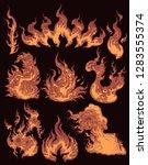 fire. design set. hand drawn... | Shutterstock .eps vector #1283555374