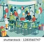 family celebrate birthday of... | Shutterstock .eps vector #1283560747