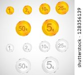 set of golden and silver coins. ... | Shutterstock .eps vector #128356139