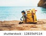 Hipster Hiker Tourist Yellow...