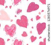 pink hearts. vector seamless... | Shutterstock .eps vector #1283576971