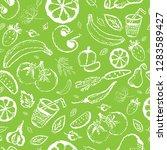 fruit and vegetables seamless... | Shutterstock .eps vector #1283589427