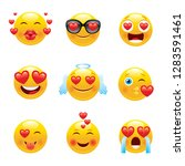 love emoji icon set. 3d happy   ... | Shutterstock .eps vector #1283591461