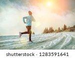 running woman. runner on the... | Shutterstock . vector #1283591641