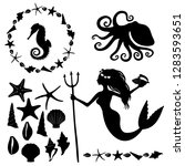 set of marine life silhouettes  ... | Shutterstock .eps vector #1283593651