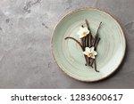 plate with aromatic vanilla...   Shutterstock . vector #1283600617