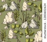 prehistoric vector plants....   Shutterstock .eps vector #1283602624