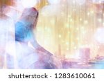 girl at the window dreams in... | Shutterstock . vector #1283610061