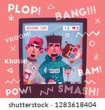friends is gaming. nerd's room... | Shutterstock .eps vector #1283618404