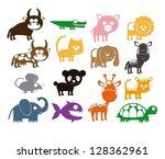 illustration of cute animals.... | Shutterstock .eps vector #128362961