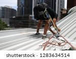 construction worker wearing... | Shutterstock . vector #1283634514