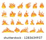 set of red and orange fire... | Shutterstock .eps vector #1283634937