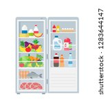 refrigerator with open door... | Shutterstock .eps vector #1283644147