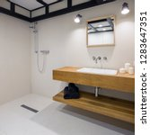 minimalist bathroom with long ... | Shutterstock . vector #1283647351