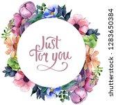 bouquet floral botanical...   Shutterstock . vector #1283650384