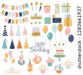 birthday party glitter set. ...   Shutterstock .eps vector #1283661937