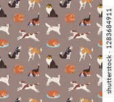 seamless pattern with cute dogs ... | Shutterstock .eps vector #1283684911