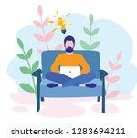 businessman sitting on the sofa ... | Shutterstock .eps vector #1283694211