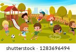 kids play park playground... | Shutterstock .eps vector #1283696494
