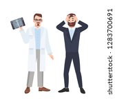 grumpy male physician or... | Shutterstock .eps vector #1283700691