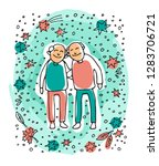 elderly gay couple on blue... | Shutterstock .eps vector #1283706721