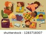 kindergarten nap time kid... | Shutterstock .eps vector #1283718307