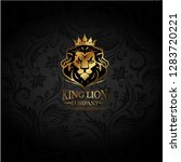 vector emblem with golden lion | Shutterstock .eps vector #1283720221