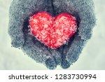 woman's hands wearing woolen... | Shutterstock . vector #1283730994