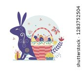 easter card with bunny and... | Shutterstock .eps vector #1283752504