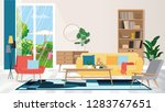 modern apartment interior....   Shutterstock .eps vector #1283767651