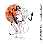 zodiac sign scorpio. beautiful...   Shutterstock . vector #1283775634