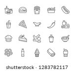 fast food flat line icons set.... | Shutterstock .eps vector #1283782117